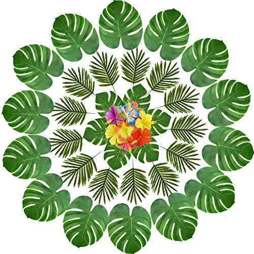 Flowers Tropical Aloha (KUUQA 60 Pcs Tropical Leaves Luau Party Decorations Artificial Tropical Palm Monstera Leaves and Hibiscus Flowers for Hawaiian Aloha Jungle Safari Theme Birthday Party Decoration Supplies)