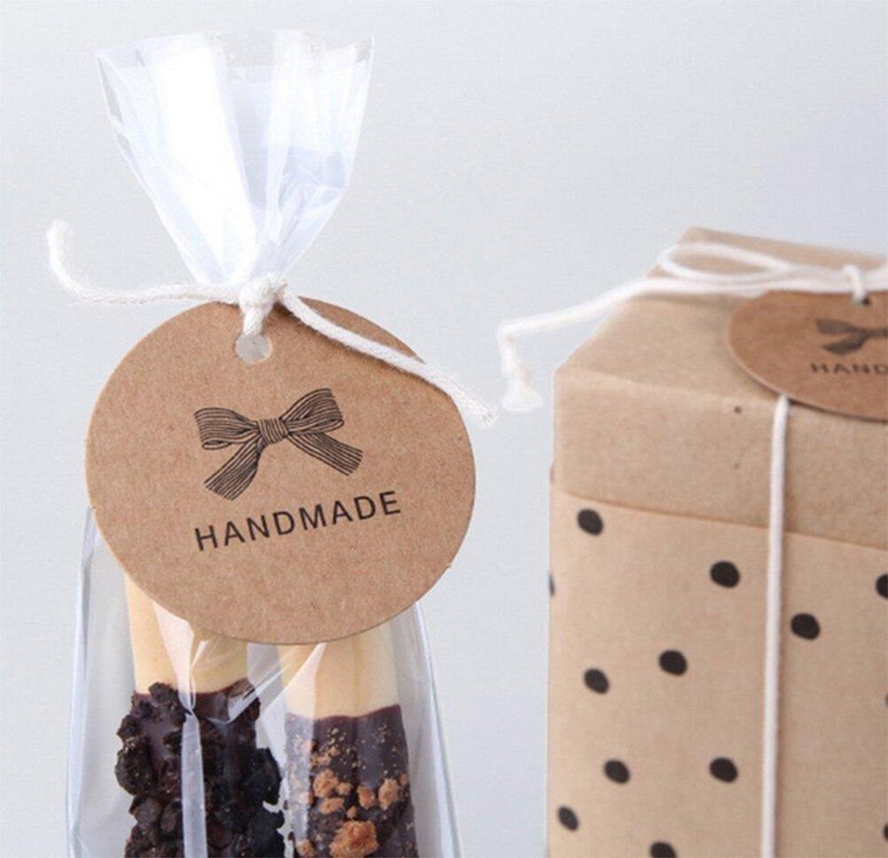 100pcs ,Tag Regalo di Nozze marrone CAOLATOR Tondo a forma di etichetta di carta per la decorazione partito di nozze handmade
