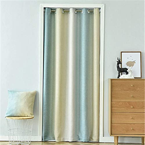 WPKIRA Gradient Color Vertical Stripes Grommet Blackout Curtains Window Treatments Doorway Curtain Room Darkening Thermal Insulated Blackout Curtains for Doors 2 Panel W39 x L78 inch