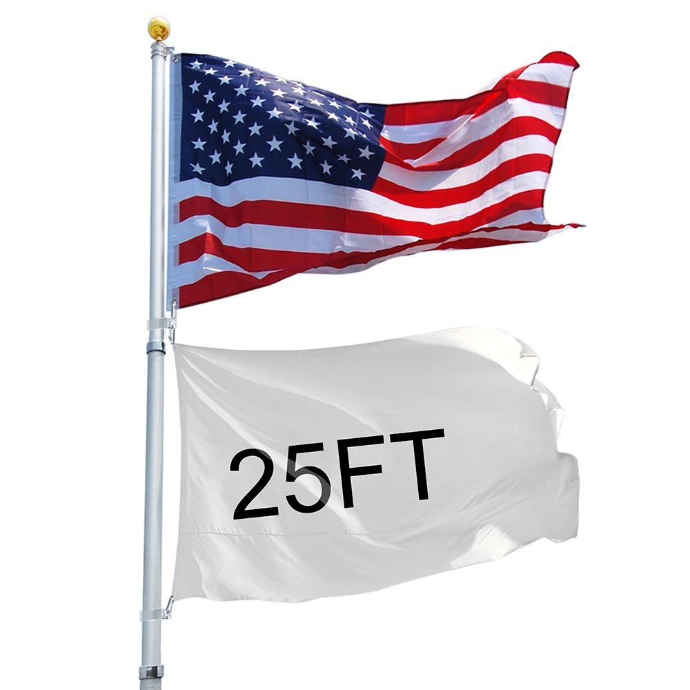 Yeshom 25feet Telescopic 16 Gauge Aluminum Flag Pole 3'x5' US Flag and Ball Top Kit Telescoping Flagpole Fly 2 Flags