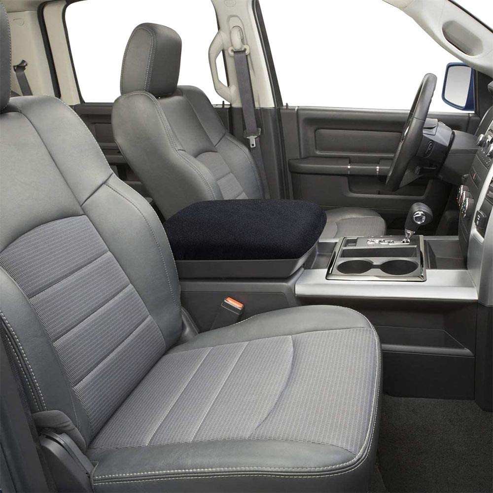 JeCar Center Console Armrest Pad Cover Soft Arm Rest Protector Interior Accessories for Dodge Ram 2010-2020 Blcak