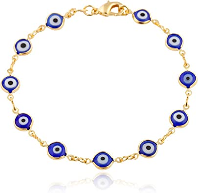 JEWELRY PARADISE Navy Blue Mini Evil Eye Charms Bracelet Baby Girl Boy Toddler Child Teen Adult Woman Men 14kt Gold Filled Overlay Protection Good ...