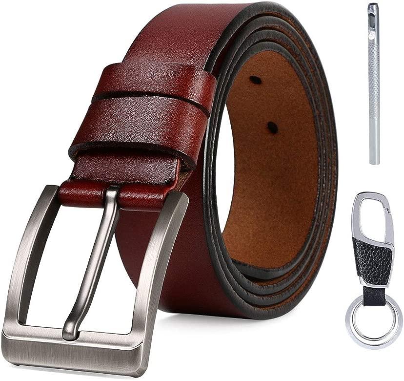 flintronic ® Cinturón Cuero Hombre, 125cm Cinturón con Reversible Correa de Hebilla de Pin, con Llavero y Caja de Regalo