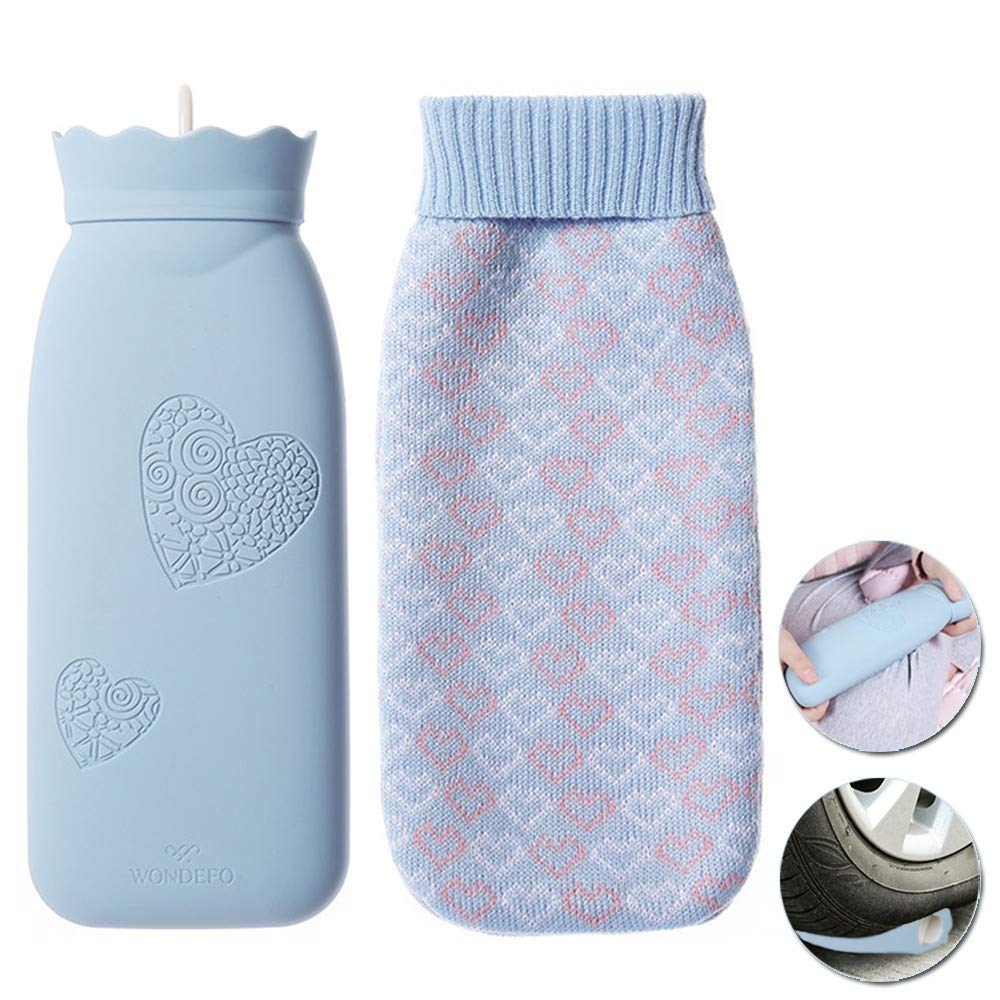 HJHY@ Silicone Mini Portable Baby Hand Warmer Hot Water Bottle Housewares Insulation Knitted Covers Hot Water Bag Classic Natural Rubber Camping Reusable Hot Water Pack for Pain ReliefL by HJHY@