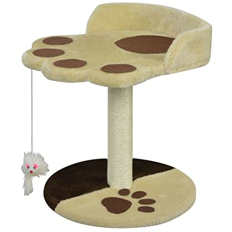 vidaXL Poste Rascador para Gatos Altura 40 cm Alfombra de Felpa Amarillo Marrón