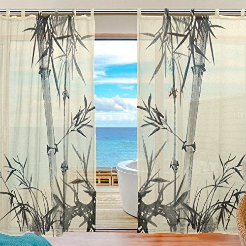Cheap Set of 2: INGBAGS Bedroom Decor Living Room Decorations Green Leaves Bamboo Leaf Pattern Print Tulle Polyester Door Window Gauze / Sheer Curtain Drape Two Panels Set 55×78 inch E70
