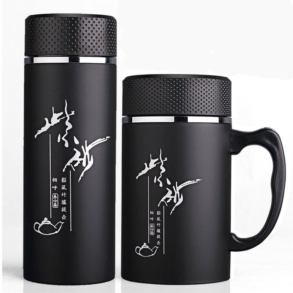 Teacup,Purple sand mug Portable water bottle [lidded] Men's office cup Business cup-E