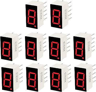 "Common Cathode 10 Pin 1 Bit 1.34 x 0.94 x 0.41 Inch 1/"" Red LED Display 10pcs"