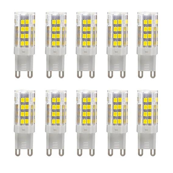 Bombillas LED G9 5W equivalentes a Lámparas halógenas de 35W,Blanco Frío 6000K,450LM,AC 220-240V,51x SMD 2835 pack de 10: Amazon.es: Iluminación