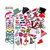 Bamos Photo Booth Props 62 piece Diy Kit for Party Favors Children Adult Birthday Wedding Albums Party Decorations Bridal Graduation Halloween Photobooth Dress-up Accessories