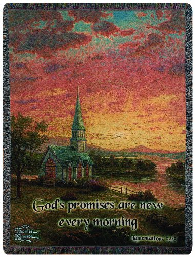 - Manual Thomas Kinkade 50 x 60-Inch Tapestry Throw with Verse, Sunrise Chapel