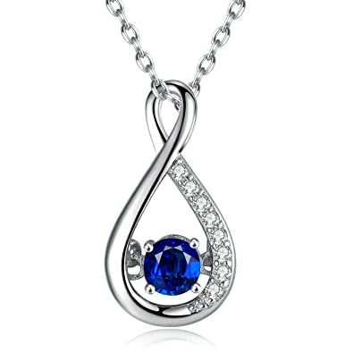 Amazon caperci sterling silver 1ct created blue sapphire caperci sterling silver 1ct created blue sapphire diamond accent infinity pendant necklace for women 18quot mozeypictures