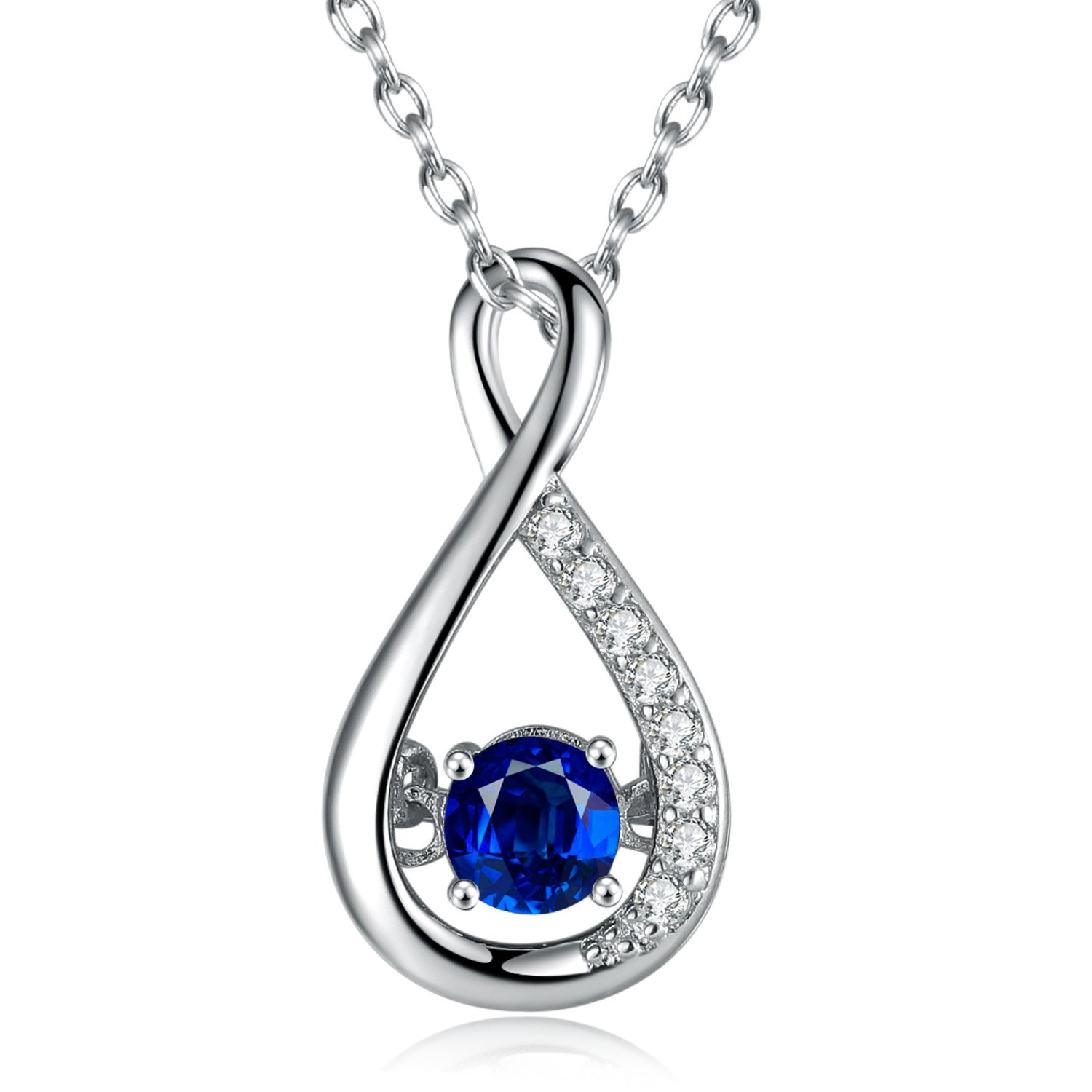 Caperci Sterling Silver Gemstone Created Blue Sapphire Jewelry Infinity Pendant Necklace for Women, 18''