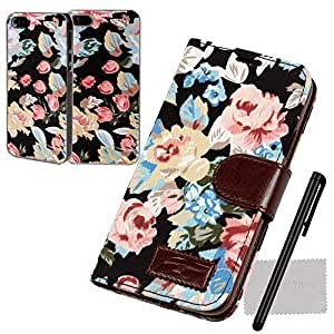 xhorizon?Retro Luxury Flowers Flip PU leather Wallet Stand Cover Case for iPhone 5 5S Black +Floral Style Hard Plastic Case w/ Ctylus Cleaning Cloth by xhorizon