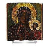 Pixels Shower Curtain (74'' x 71'') ''The Black Madonna''