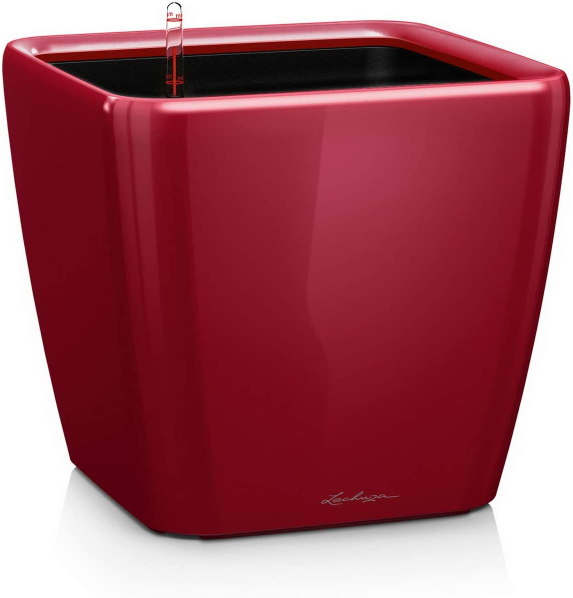 LECHUZA Quadro LS 28 Self Watering Planter Garden Flower Plant Pot Indoor/Outdoor Table Planter with Drainage Hole and Plant Substrate Poly Resin H26 L28 W28 cm Scarlet Red High-Gloss