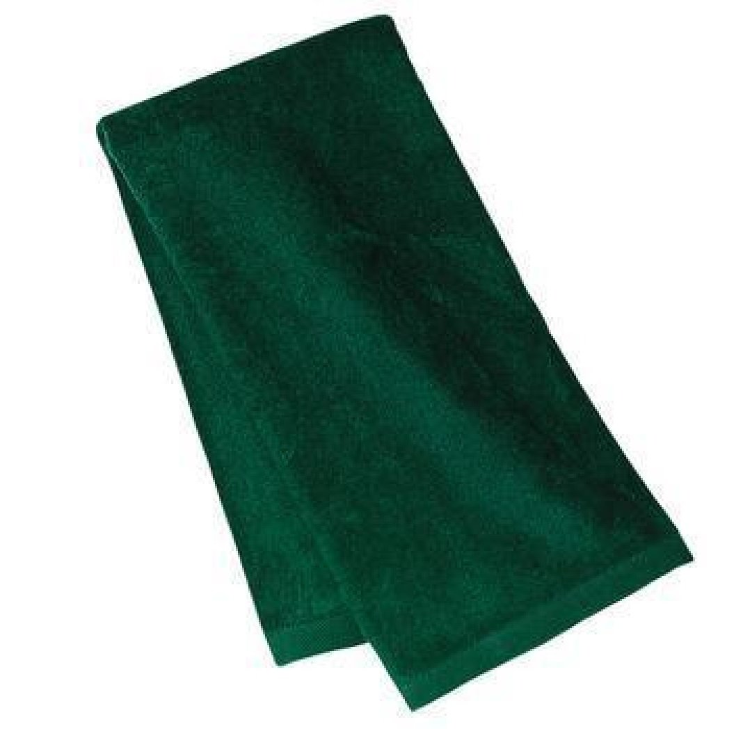 3 PACK ECONOMICAL FOREST GREEN COLOR TOWEL SET, 100% Cotton Deluxe Hemmed Fingertip Velour Towel ( Bath, Face and Hand Towels ) by Georgiabags (3, FOREST GREEN)