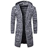 Men's Overcoat for Mens Slim Fit Hooded Knit Sweater Fashion Cardigan Long Trench Coat,Suit Jacket (XL,Gray)