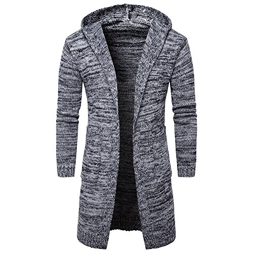 Men's Overcoat for Mens Slim Fit Hooded Knit Sweater Fashion Cardigan Long Trench Coat,Suit Jacket (XL,Gray) by Ennglun Jacket mens Coats