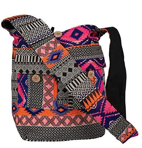 Crossbody Handwoven Thick Cotton Shoulder Bag Shopping Market Purse Pink Casual Boho Roomy Spacious ()