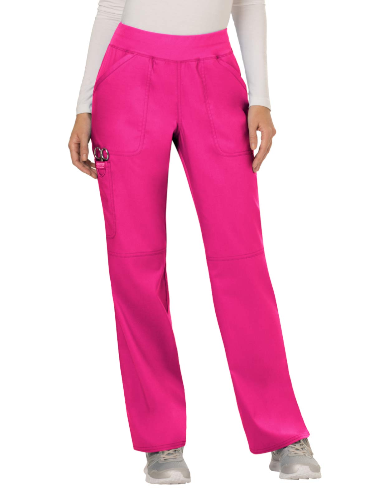 Cherokee WW Revolution WW110 Women's Mid-Rise Pull-On Cargo Pant, Electric Pink, 2X-Large Tall by Cherokee