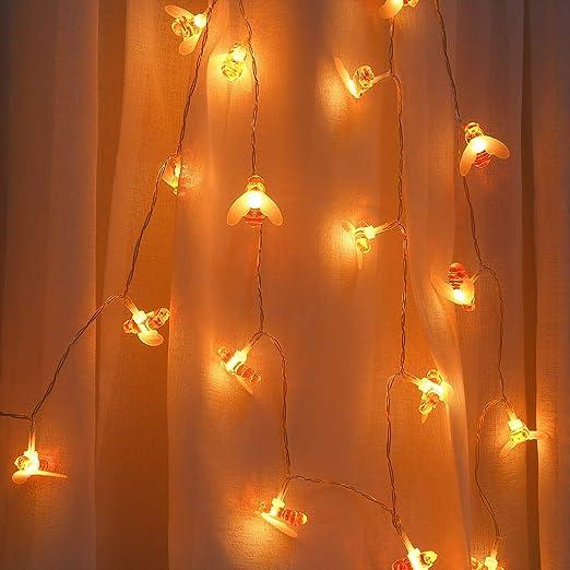 housesweet Luces de Abeja, 20 Luces de Miel LED Jardín Impermeable Sala de Navidad Cortina Luces Colgantes de Cadena Alimentado por USB: Amazon.es: Jardín