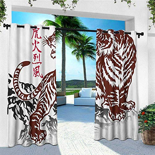 - leinuoyi Tattoo, Outdoor Curtain Set of 2 Panels, Wild Chinese Tiger with Stripes and Roaring While its Paws on Rock Asian Pattern, Balcony Curtains W120 x L96 Inch Brown White