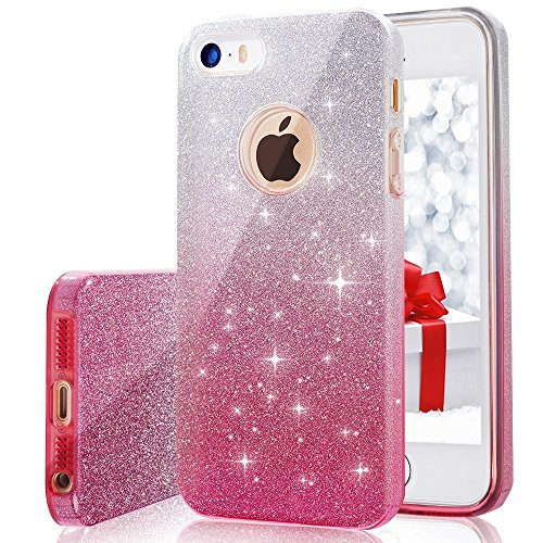 iPhone 5, 5S, SE Case, VPR Bling Luxury Glitter Pretty Cute Premium 3 Layer Ultra Thin Sparkle Anti-Slick / Soft Slim TPU Unique/ Protective Case for iPhone 5 5S SE (Shocking Pink Anime)