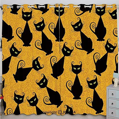 Justin Harve window Black Cat Pattern on Orange Background Halloween Witch Pet Graphic Decorative Grommet Top Blackout Curtains Set of 2 Panels(100