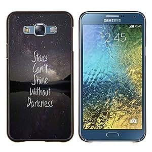 KLONGSHOP // Cubierta de piel con cierre a presión Shell trasero duro de goma Protección Caso - protagoniza la oscuridad nocturna texto cita inspiradora - Samsung Galaxy E7 E700 //