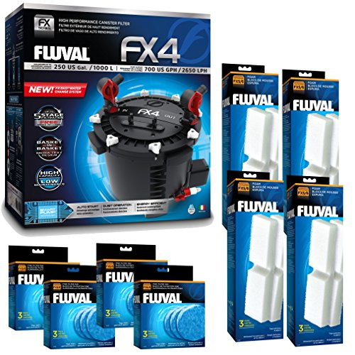 Fluval FX4 Filter w/Filter Foam & Filter Pad (12 Month Supply)
