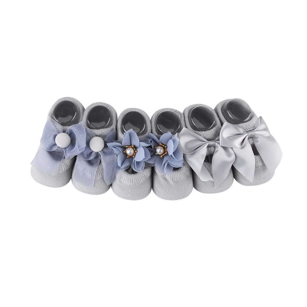 Fdit Calcetines de Piso de Bebé Calcetines Antideslizantes de Piso de Bebé Calcetines de Piso de Niño Unisex Lindo de Historieta 3 Pares/Sistema(S(0-1 años Gris)
