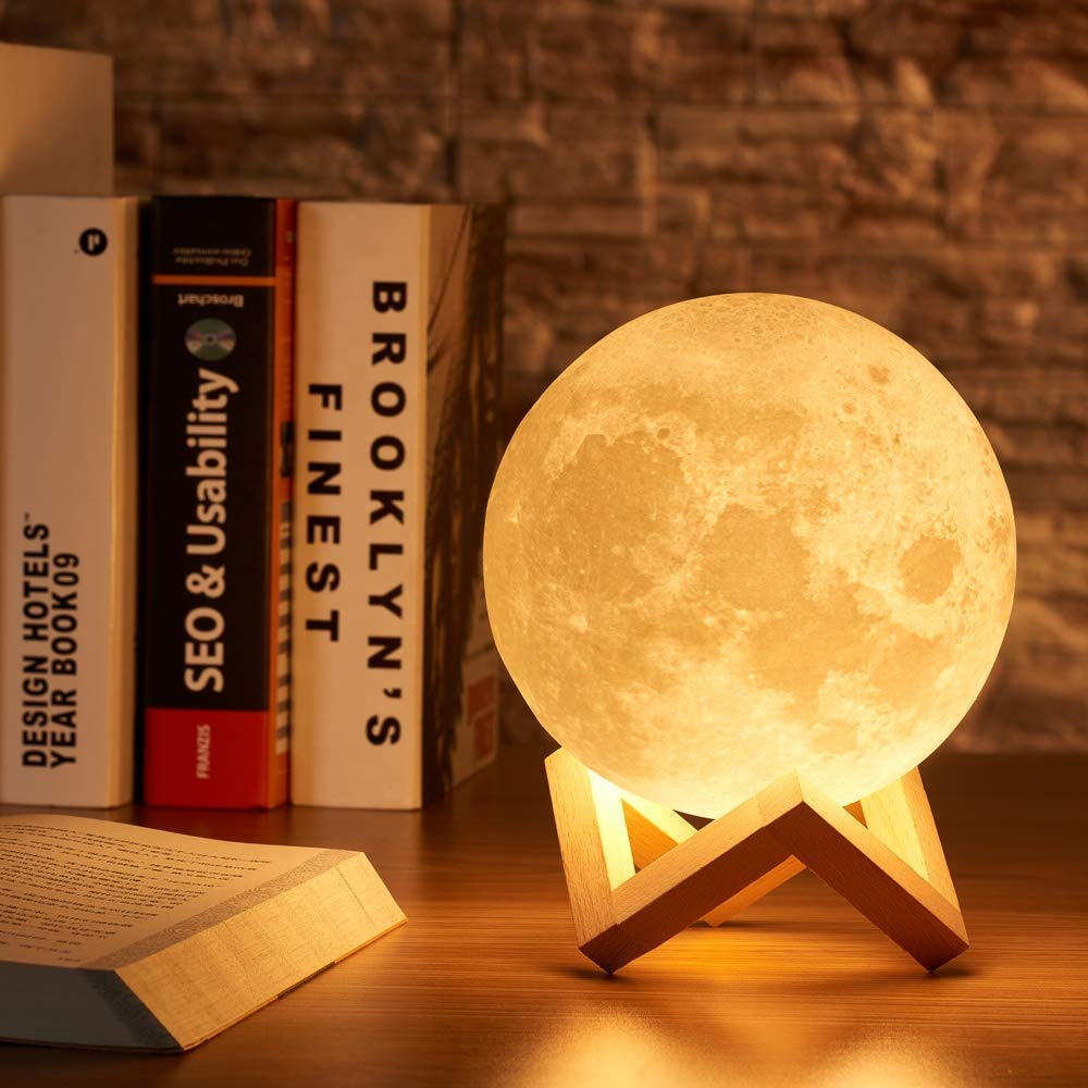 3D Moon Lamp Light with Stand, 2 Colors