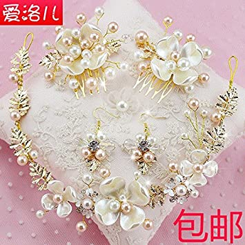 Amazon Korean Bridal Headdress Flower Pearl Comb Suit Married