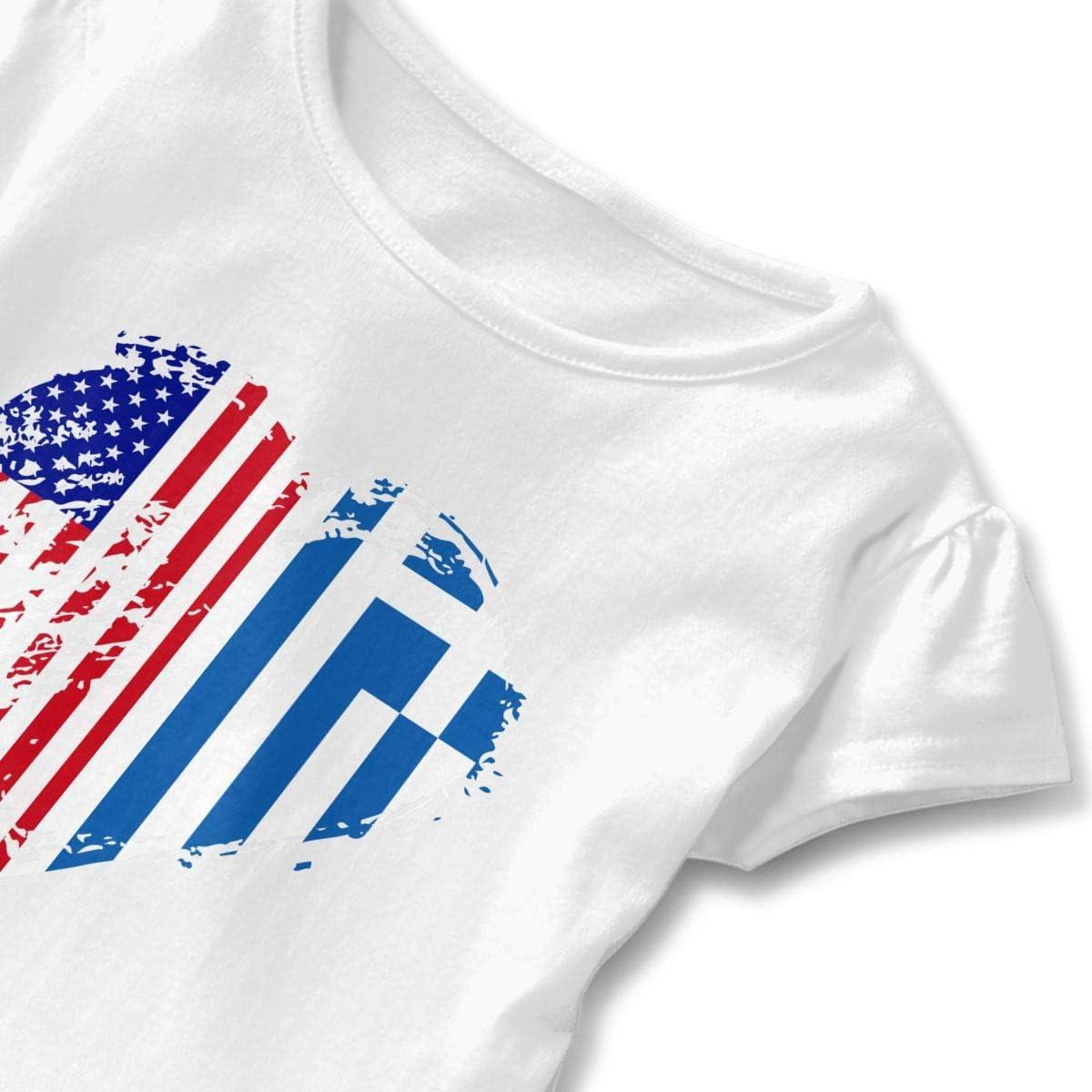 26NSHIRT Grungy Greece Greek American Flag Heart Little Girls Short Sleeve Peplum Tops