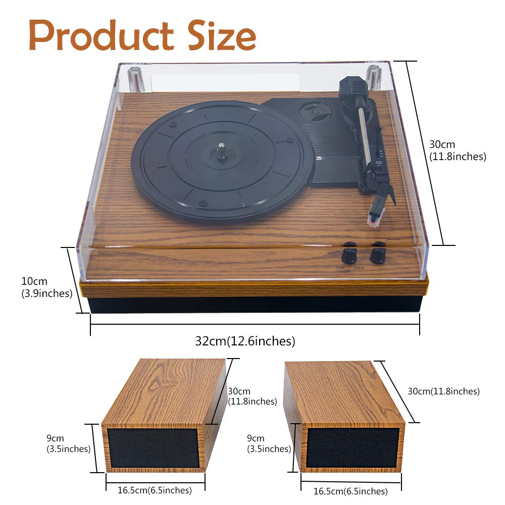 LP/&No.1 Retro Belt-Drive Bluetooth Turntable with Separable Stereo Speakers,3 Speed Vinyl Record Player