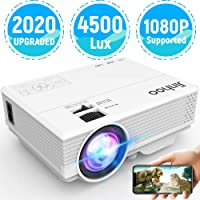 2020 Latest Projector, Mini Video Projector with 4500 LUX, 1080P Supported, Compatible with TV Stick, HDMI, USB, VGA, AV