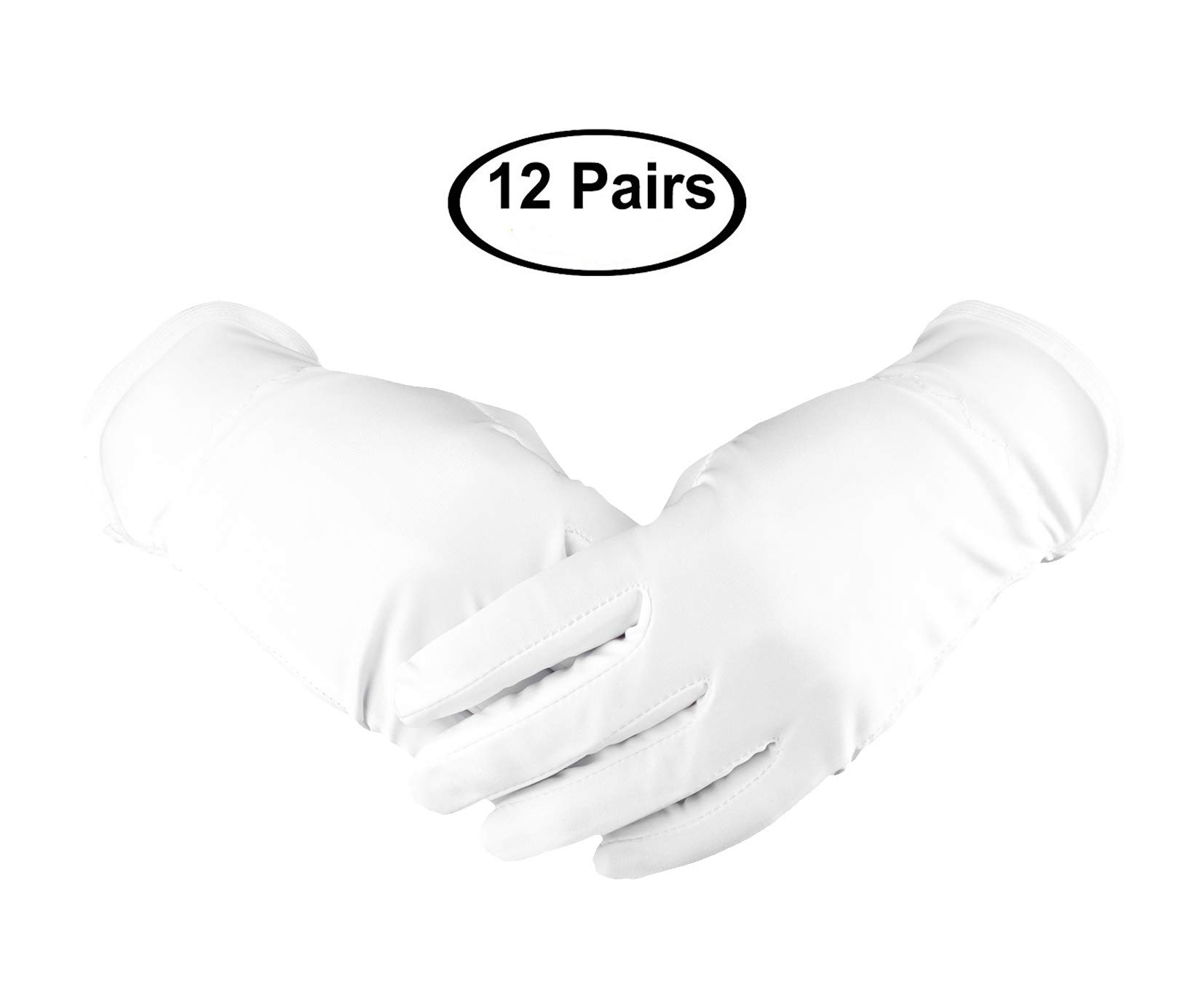 White Cotton Gloves,Fashionclubs Hand Spa Glove for Cosmetic Moisturizing,8.6'' Stretchy Wrist Thicker Work Gloves for Coin Jewelry Silver Inspection,Uniform Formal Guard Parade Gloves,12 Pairs