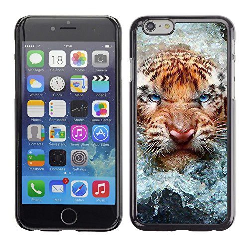 TopCaseStore / caoutchouc Hard Case Housse de protection la Peau - Angry Cat Tiger Water Nature Animal - Apple iPhone 6 Plus 5.5