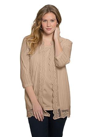 32c0c7bd61f3b Roamans Women s Plus Size Crochet Trim Cardigan at Amazon Women s Clothing  store