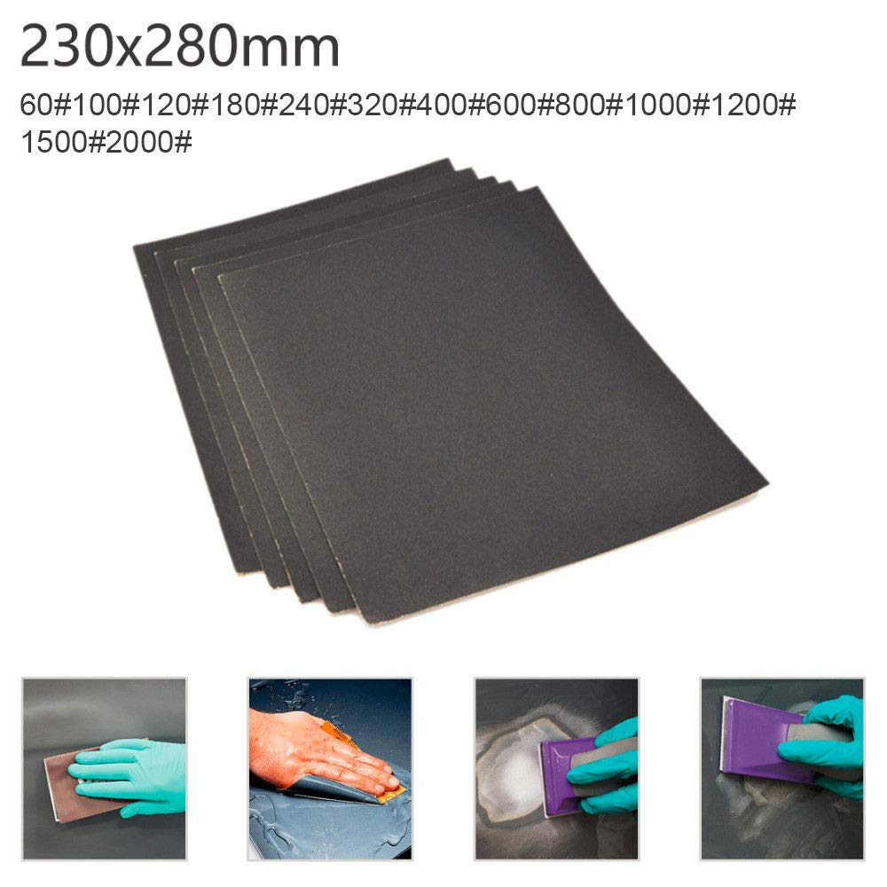 pour pon/çage automobile meubles en bois travail 230 x 280mm Lot de 10 Papier de verre papier /à poncer /à leau 800 grain