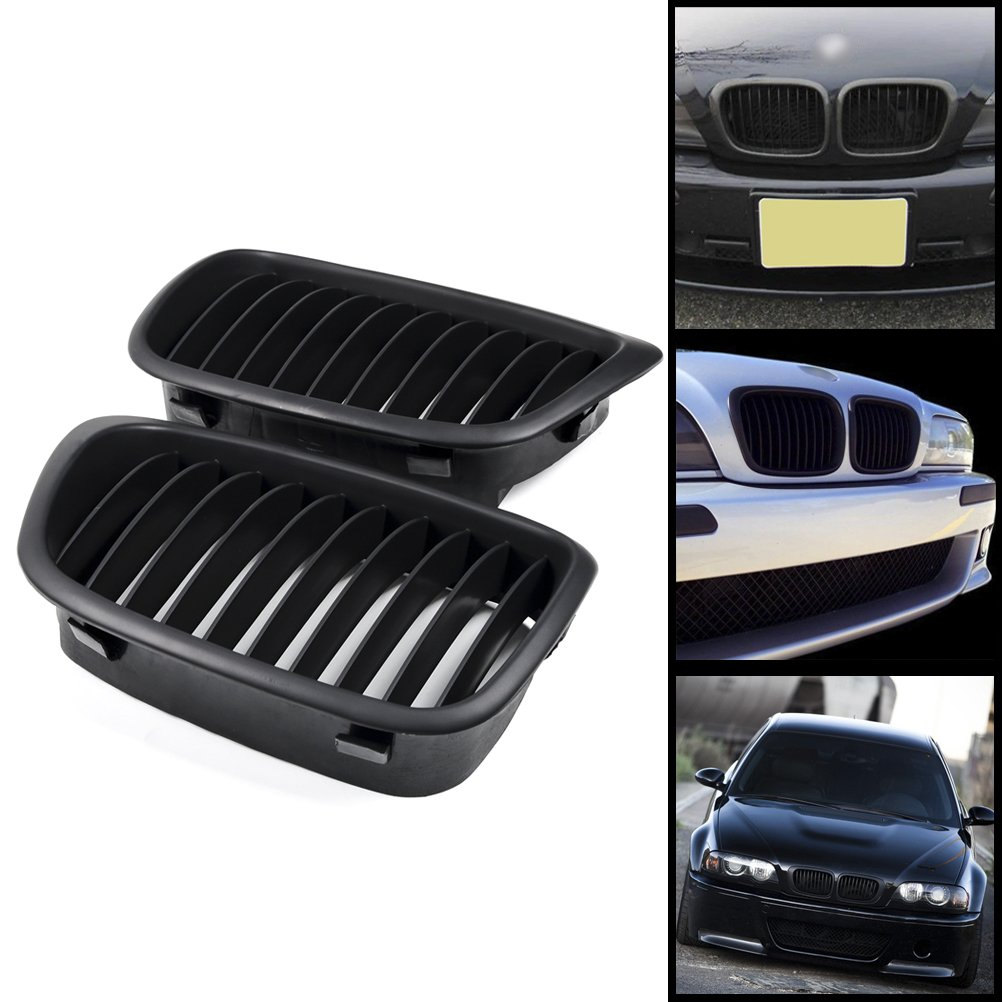 2x Euro Front Center Kidney Grille Grill For 97 03 Bmw 5 Series E39 95 520 523 525 528 530 535 540 M5 4dr 4 Door Matte Black Automotive