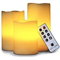 3 x LED Lytes Flickering Flameless Candles with Remote Control