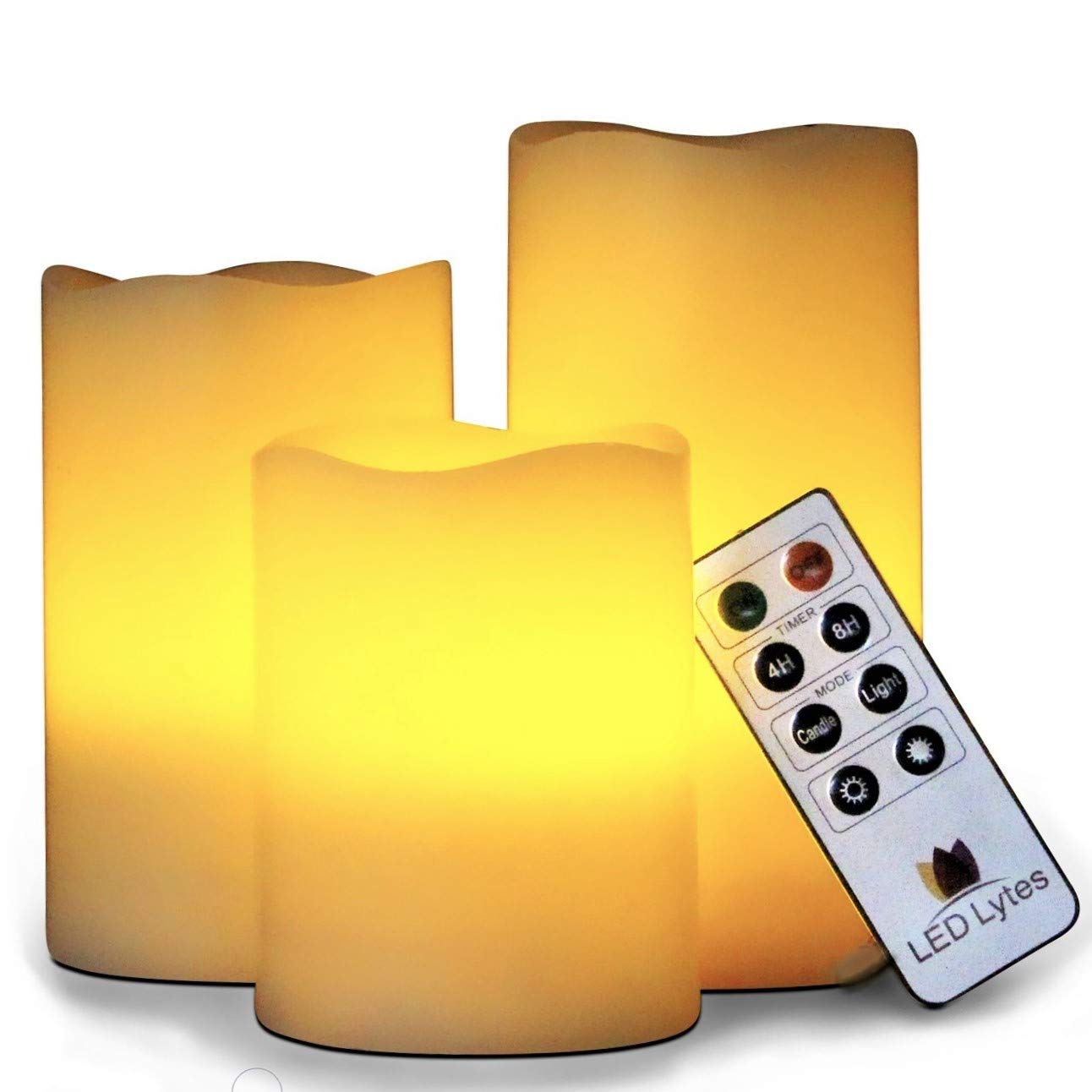 LED Lytes Flameless Candles Set of 3 Ivory Wax Flickering Amber Yellow Flame, Auto-Off Timer Remote Control Fake Battery Operated Candles