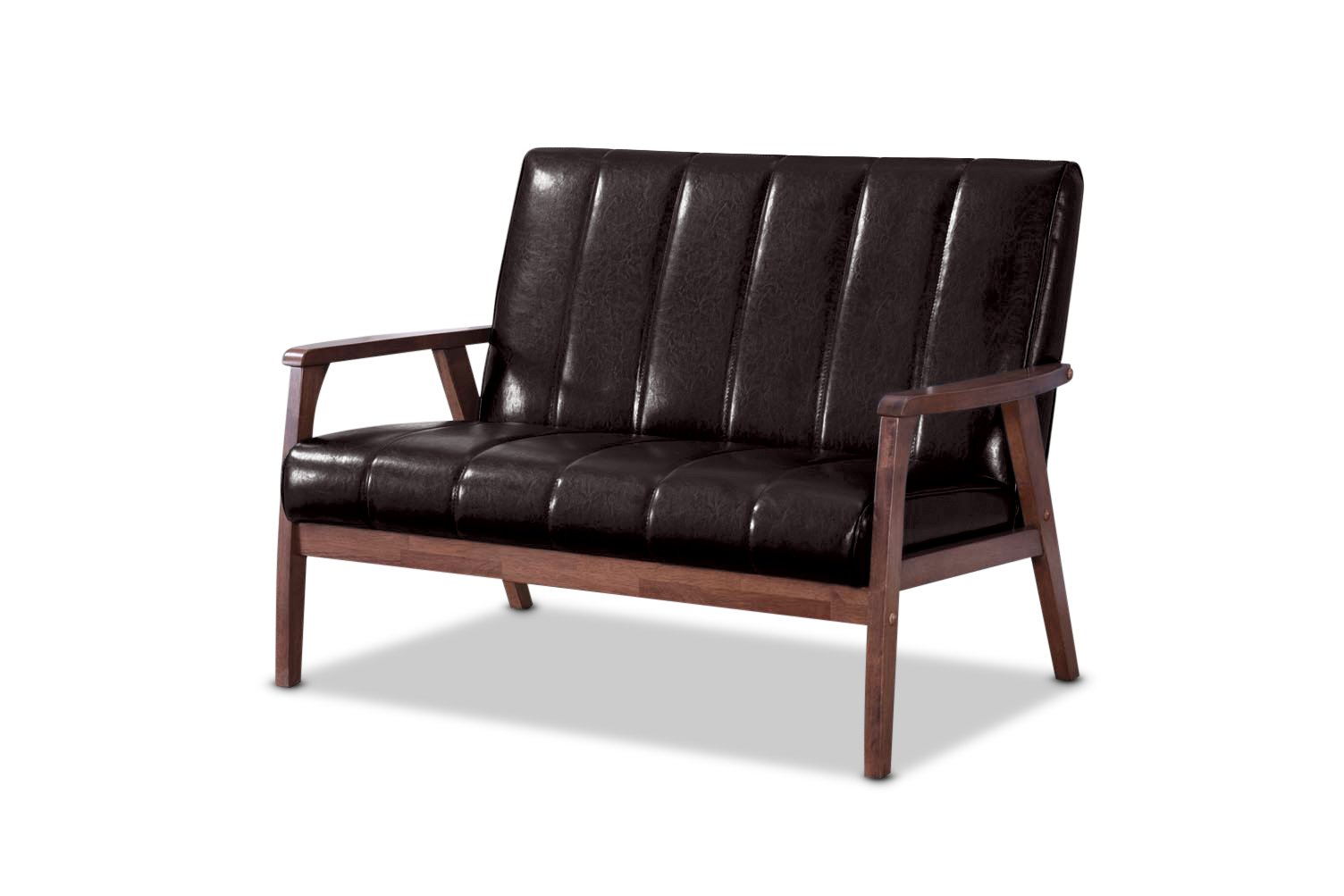 Baxton Studio Nikko Mid-Century Modern Scandinavian Style Dark Brown Faux Leather Wooden 2-Seater Loveseat by Baxton Studio