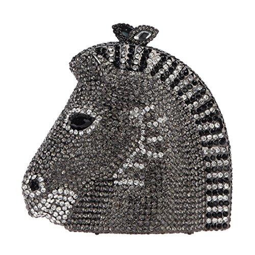 Fawziya 3D Horse Head Rhinestone Clutch Purses Evening Bags And Clutches-Black