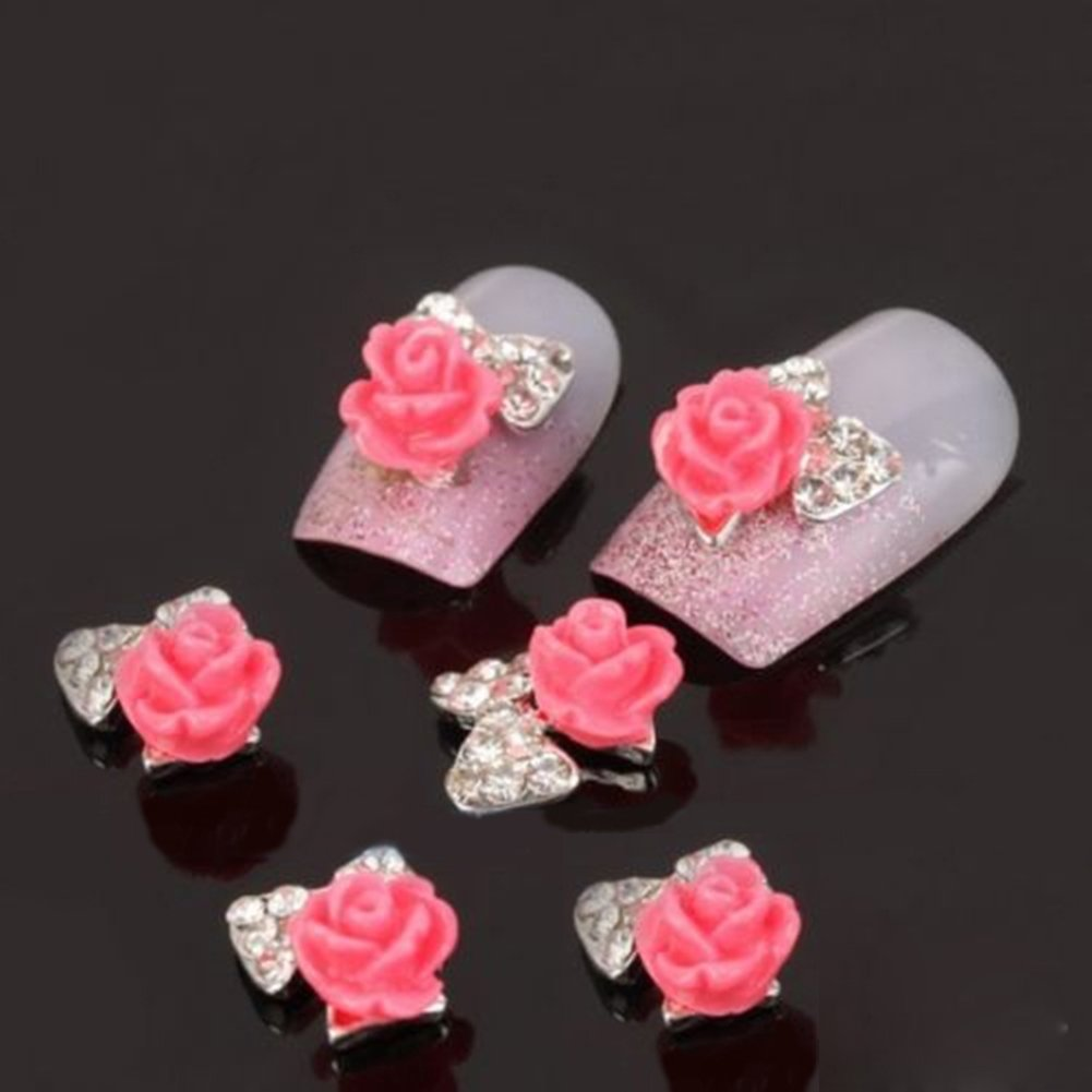 10pcs 3D Alloy Flower Rose Bow Tie Rhinestones Nail Art Glitters DIY Decoration Broadfashion