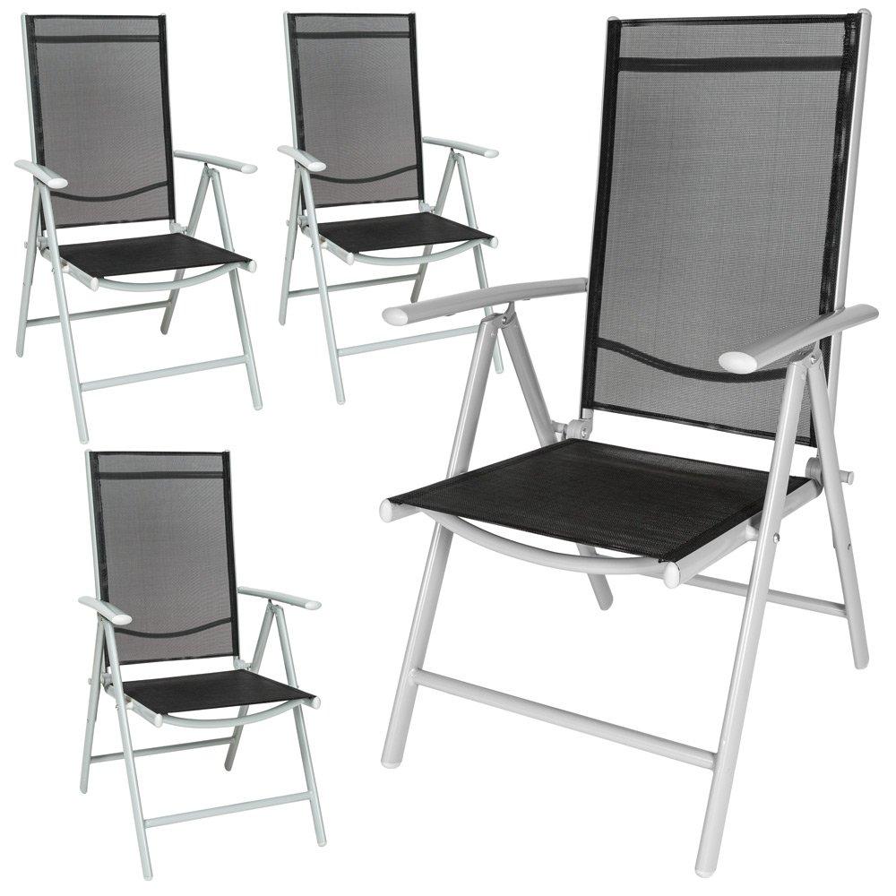 TecTake Aluminium Klappstuhl Gartenstuhl Set verstellbar mit Armlehnen - diverse Farben und Mengen - (Silber | 4er Set | Nr. 401632)