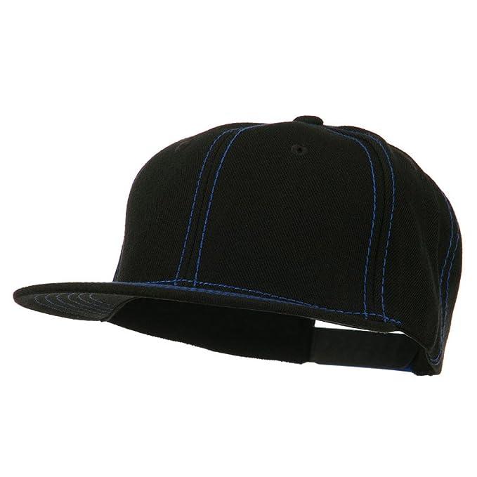 92397a34d5e90 Contrast Stitch Flat Bill Snapback Cap - Black Royal OSFM at Amazon ...