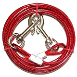 The Pet Supplies Tie Out Cable for Dog, Steel Wire Rope With Dual Heads Metal Hooks Outdoor Yard and Camping for Medium Large Pet Dogs,10ft